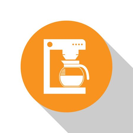 White Coffee machine with glass pot icon isolated on white background. Orange circle button. Flat design. Vector Illustration