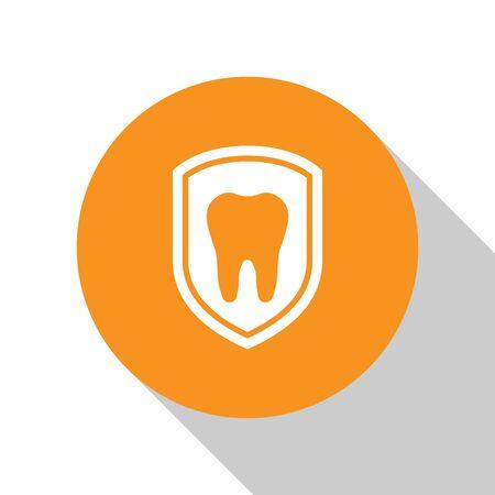 White Dental protection icon isolated on white background. Tooth on shield logo icon. Orange circle button. Flat design. Vector Illustration