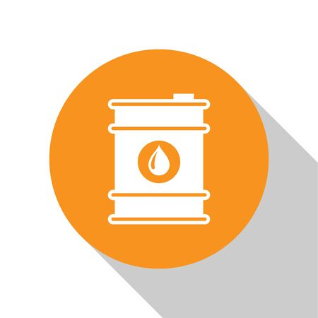 White Barrel oil icon isolated on white background. Orange circle button. Flat design. Vector Illustration