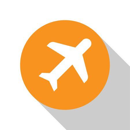White Plane icon isolated on white background. Flying airplane icon. Airliner sign. Orange circle button. Flat design. Vector Illustration Ilustração