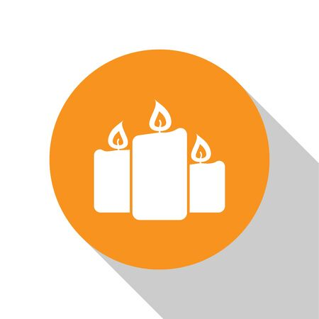 White Burning candles icon isolated on white background. Old fashioned lit candles. Cylindrical aromatic candle sticks with burning flames. Orange circle button. Flat design. Vector Illustration