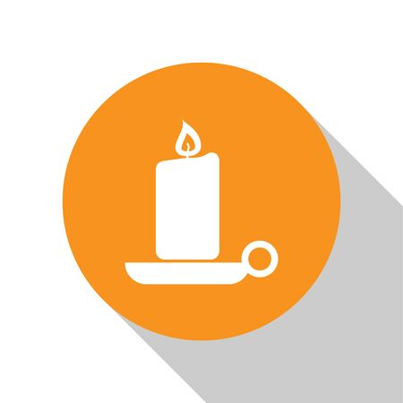 White Burning candle in candlestick icon isolated on white background. Old fashioned lit candle. Cylindrical aromatic candle stick with burning flame. Orange circle button. Vector Illustration Çizim