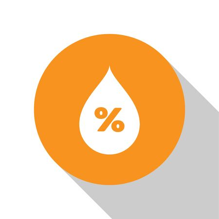 White Water drop percentage icon isolated on white background. Humidity analysis. Orange circle button. Flat design. Vector Illustration Иллюстрация