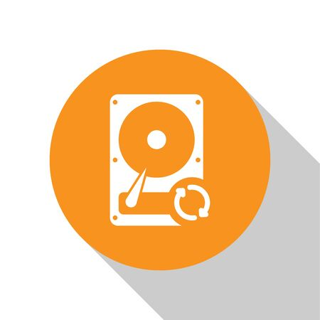 White Hard disk drive HDD sync refresh icon isolated on white background. Orange circle button. Flat design. Vector Illustration