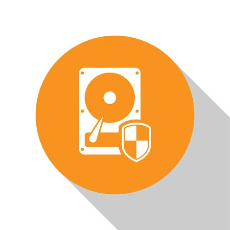 White Hard disk drive HDD protection icon isolated on white background. Orange circle button. Flat design. Vector Illustration