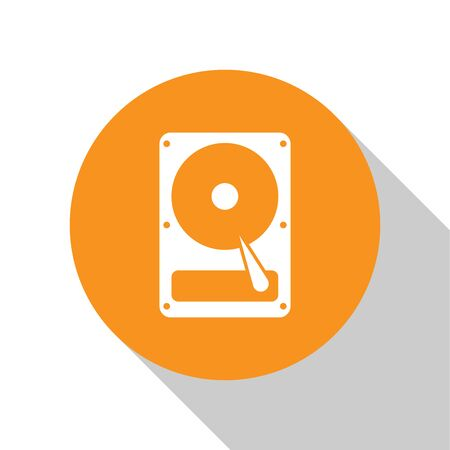 White Hard disk drive HDD icon isolated on white background. Orange circle button. Flat design. Vector Illustration
