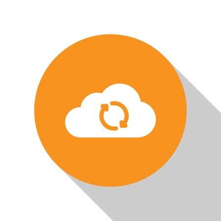 White Cloud sync refresh icon isolated on white background. Cloud and arrows. Orange circle button. Flat design. Vector Illustration