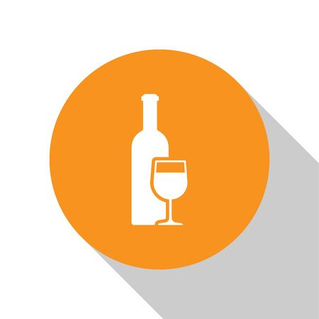 White Wine bottle with wine glass icon isolated on white background. Orange circle button. Flat design. Vector Illustration