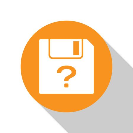 White Unknown document icon isolated on white background. File with Question mark. Hold report, service and global search sign. Orange circle button. Flat design. Vector Illustration Ilustrace