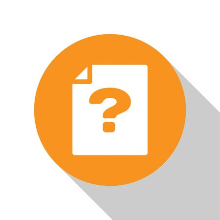 White Unknown document icon isolated on white background. File with Question mark. Hold report, service and global search sign. Orange circle button. Flat design. Vector Illustration Ilustração