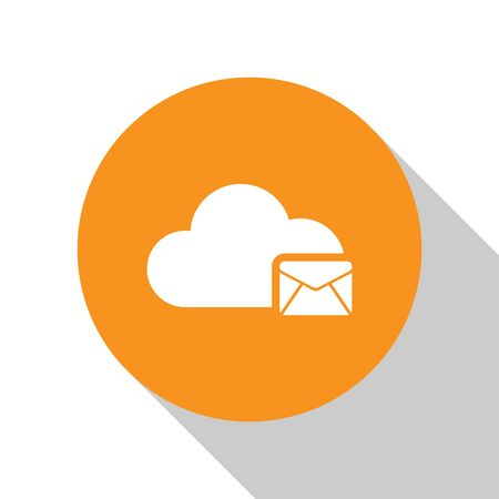 White Cloud mail server icon isolated on white background  Cloud