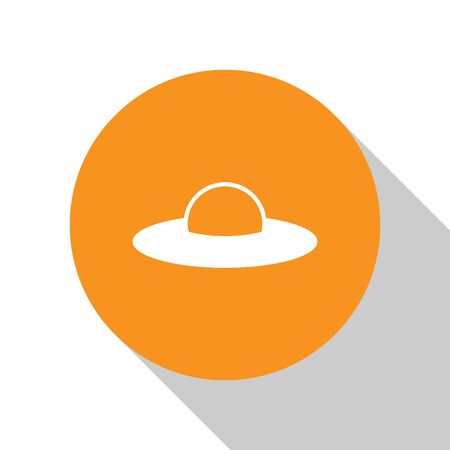 White UFO flying spaceship icon isolated on white background. Flying saucer. Alien space ship. Futuristic unknown flying object. Orange circle button. Flat design. Vector Illustration