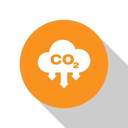 White CO2 emissions in cloud icon isolated on white background. Carbon dioxide formula symbol, smog pollution concept, environment concept. Orange circle button. Flat design. Vector Illustration Illustration