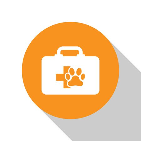 White Pet first aid kit icon isolated on white background. Dog or cat paw print. Clinic box. Orange circle button. Vector Illustration Illustration