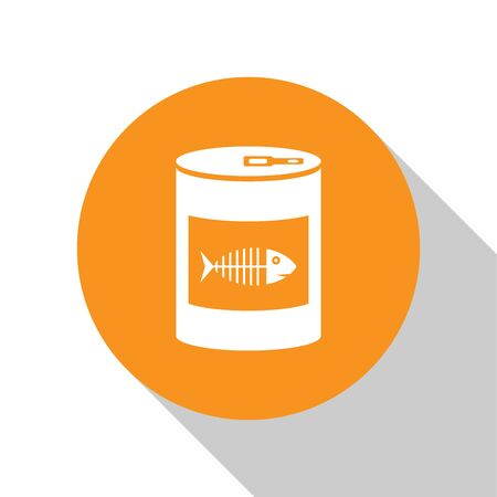 White Canned food for cat icon isolated on white background. Fish skeleton sign. Food for animals. Pet dog food can. Orange circle button. Vector Illustration