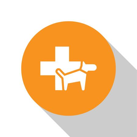 White Veterinary clinic symbol icon isolated on white background. Cross with dog veterinary care. Pet First Aid sign. Orange circle button. Vector Illustration