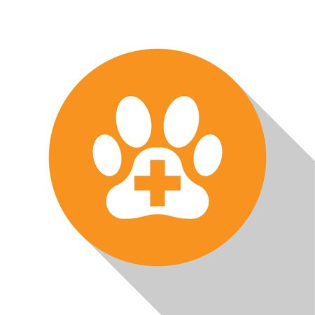 White Veterinary clinic symbol icon isolated on white background. Cross hospital sign. A stylized paw print dog or cat. Pet First Aid sign. Orange circle button. Vector Illustration