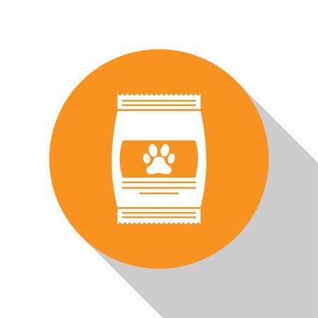 White Bag of food for pet icon isolated on white background. Food for animals. Pet food package. Dog or cat paw print. Orange circle button. Vector Illustration