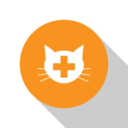 White Veterinary clinic symbol icon isolated on white background. Cross with cat veterinary care. Pet First Aid sign. Orange circle button. Vector Illustration Illustration