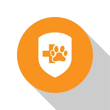 White Animal health insurance icon isolated on white background. Pet protection icon. Dog or cat paw print. Orange circle button. Vector Illustration