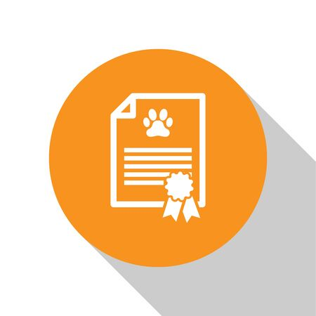White Medical certificate for travel with dog or cat icon isolated on white background. Document for pet. Dog or cat paw print. Orange circle button. Vector Illustration Ilustrace