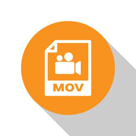 White MOV file document icon. Download mov button icon isolated on white background. MOV file symbol. Audio and video collection. Orange circle button. Vector Illustration