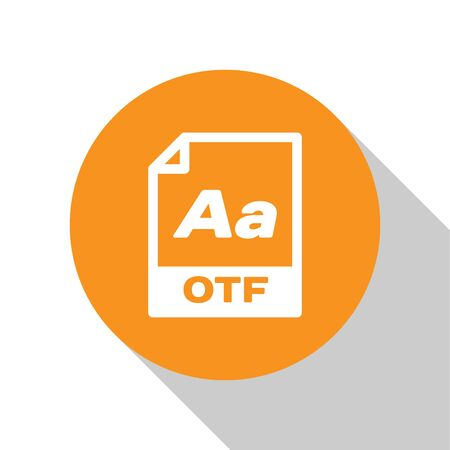 White OTF file document icon. Download otf button icon isolated on white background. OTF file symbol. Orange circle button. Vector Illustration Ilustração