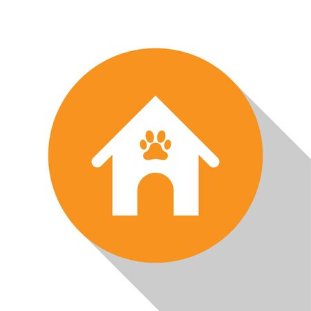 White Dog house and paw print pet icon isolated on white background. Dog kennel. Orange circle button. Vector Illustration