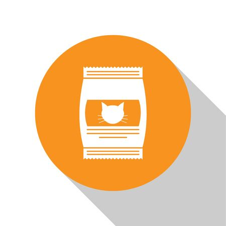 White Bag of food for cat icon isolated on white background. Food for animals. Pet food package. Orange circle button. Vector Illustration Ilustração