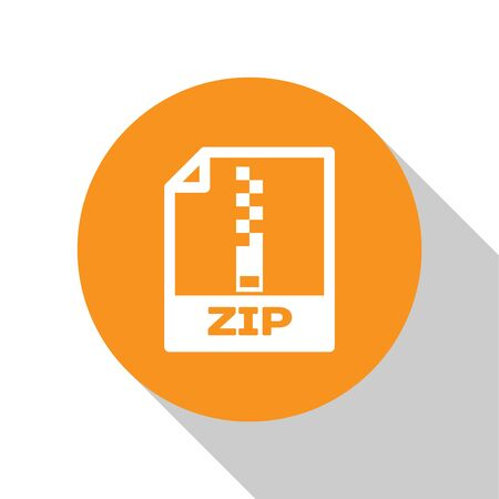 White ZIP file document icon. Download zip button icon isolated on white background. ZIP file symbol. Orange circle button. Vector Illustration Ilustração