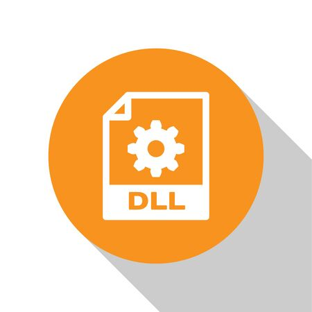 White DLL file document icon. Download dll button icon isolated on white background. DLL file symbol. Orange circle button. Vector Illustration