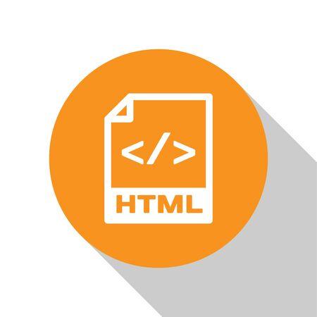 White HTML file document icon. Download html button icon isolated on white background. HTML file symbol. Markup language symbol. Orange circle button. Vector Illustration Archivio Fotografico - 124908618