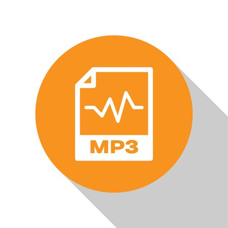 White MP3 file document icon. Download mp3 button icon isolated on white background. Mp3 music format sign. MP3 file symbol. Orange circle button. Vector Illustration