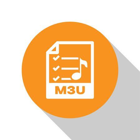 White M3U file document icon. Download m3u button icon isolated on white background. M3U file symbol. Orange circle button. Vector Illustration