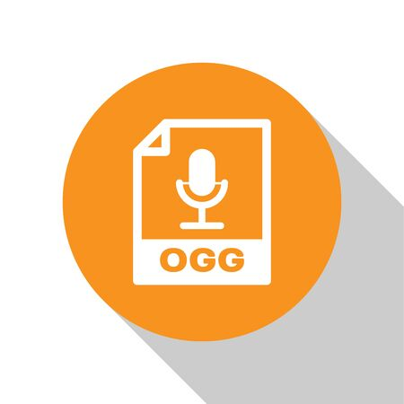 White OGG file document icon  Download ogg button icon isolated