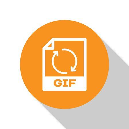 White GIF file document icon. Download gif button icon isolated on white background. GIF file symbol. Orange circle button. Vector Illustration
