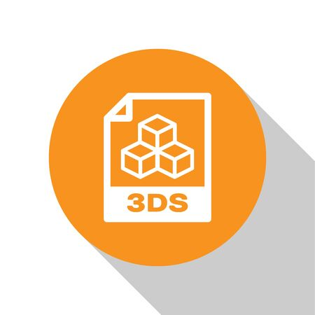 White 3DS file document icon. Download 3ds button icon isolated on white background. 3DS file symbol. Orange circle button. Vector Illustration Ilustração