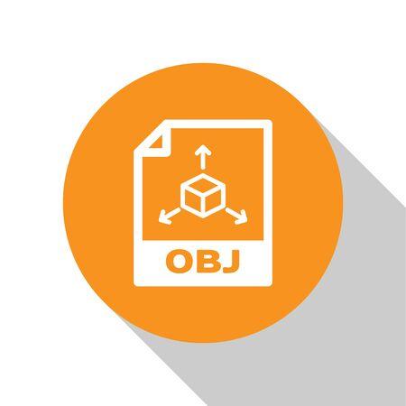 White OBJ file document icon. Download obj button icon isolated on white background. OBJ file symbol. Orange circle button. Vector Illustration Ilustração