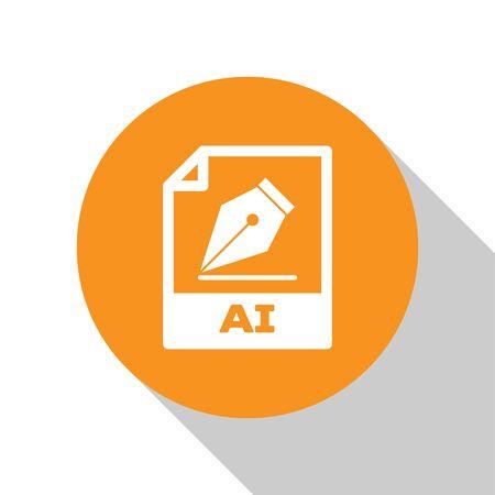 White AI file document icon. Download ai button icon isolated on white background. AI file symbol. Orange circle button. Vector Illustration