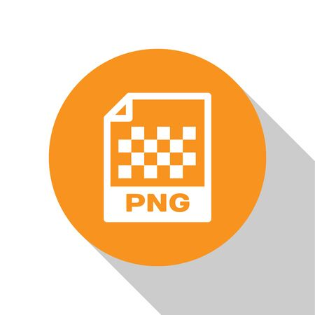 White PNG file document icon. Download png button icon isolated on white background. PNG file symbol. Orange circle button. Vector Illustration