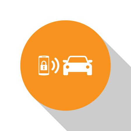 White Smart car alarm system icon isolated on white background. The smartphone controls the car security on the wireless. Orange circle button. Vector Illustration