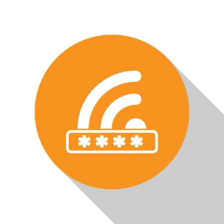 White Wifi locked sign icon isolated on white background. Password wi-fi symbol. Wireless Network icon. Wifi zone. Limited access. Orange circle button. Vector Illustration