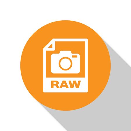 White RAW file document icon. Download raw button icon isolated on white background. RAW file symbol. Orange circle button. Vector Illustration Ilustração