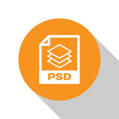 White PSD file document icon. Download psd button icon isolated on white background. PSD file symbol. Orange circle button. Vector Illustration Ilustração