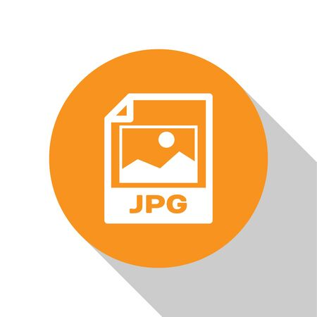 White JPG file document icon. Download image button icon isolated on white background. JPG file symbol. Orange circle button. Vector Illustration
