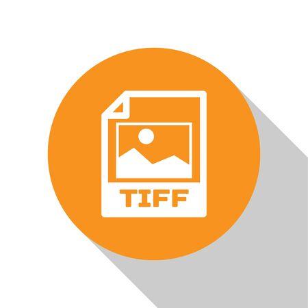 White TIFF file document icon. Download tiff button icon isolated on white background. TIFF file symbol. Orange circle button. Vector Illustration