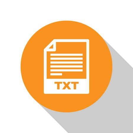 White TXT file document icon. Download txt button icon isolated on white background. Text file extension symbol. Orange circle button. Vector Illustration