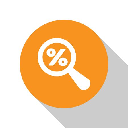 White Magnifying glass with percent discount icon isolated on white background. Discount offers searching. Search for discount sale sign. Orange circle button. Vector Illustration