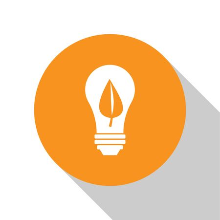White Light bulb with leaf icon isolated on white background. Eco energy concept. Alternative energy concept. Orange circle button. Vector Illustration