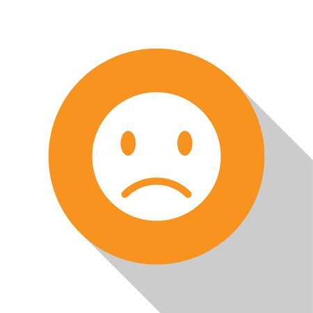 White Sad smile icon isolated on white background. Emoticon face. Orange circle button. Vector Illustration